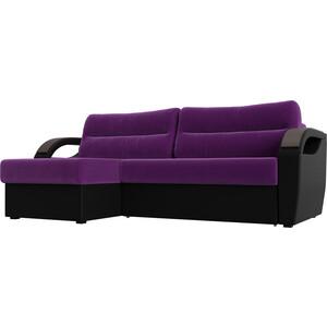 Угловой диван Лига Диванов Форсайт микровельвет фиолетовый экокожа черный левый угол