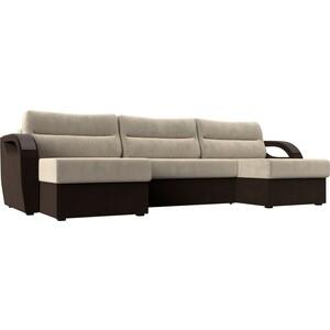 П-образный диван Лига Диванов Форсайт микровельвет бежевый коричневый