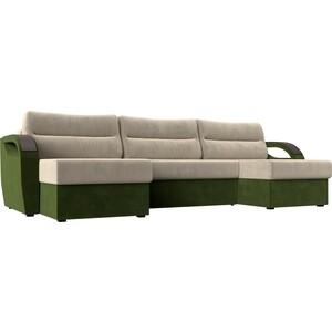 П-образный диван Лига Диванов Форсайт микровельвет бежевый зеленый