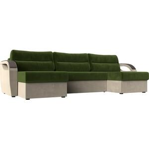 П-образный диван Лига Диванов Форсайт микровельвет зеленый бежевый
