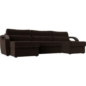 П-образный диван Лига Диванов Форсайт микровельвет коричневый