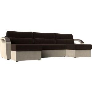 П-образный диван Лига Диванов Форсайт микровельвет коричневый бежевый