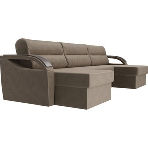 П-образный диван Лига Диванов Форсайт флок коричневый