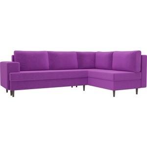 Угловой диван Лига Диванов Сильвана микровельвет фиолетовый правый угол