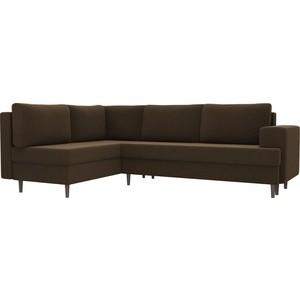 Угловой диван Лига Диванов Сильвана микровельвет коричневый левый угол угловой диван лига диванов сильвана микровельвет черный правый угол