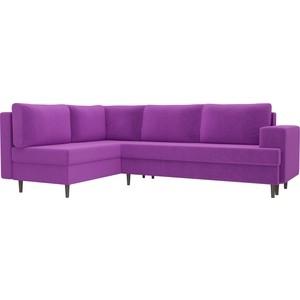Угловой диван Лига Диванов Сильвана микровельвет фиолетовый левый угол