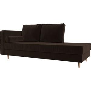 Кушетка Лига Диванов Прайм микровельвет коричневый левый угол кушетка лига диванов прайм микровельвет бежевый правый угол