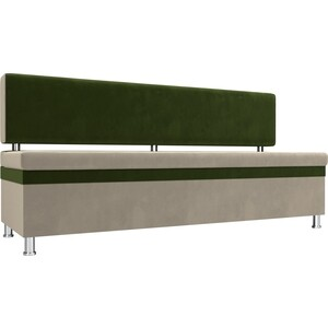 Кухонный прямой диван АртМебель Стайл микровельвет бежевый зеленый
