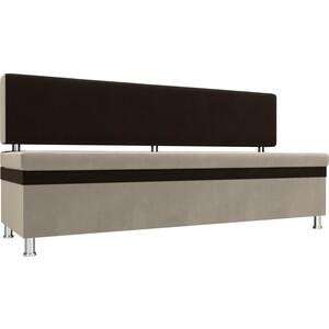 Кухонный прямой диван АртМебель Стайл микровельвет бежевый коричневый