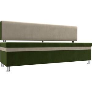 Кухонный прямой диван АртМебель Стайл микровельвет зеленый бежевый