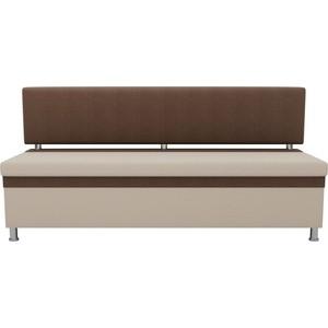Кухонный прямой диван АртМебель Стайл рогожка бежевый коричневый