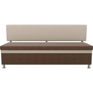 Кухонный прямой диван АртМебель Стайл рогожка коричневый бежевый