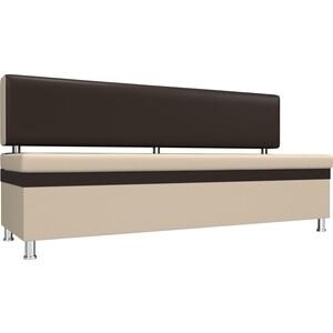 Кухонный прямой диван АртМебель Стайл эко кожа бежевый коричневый