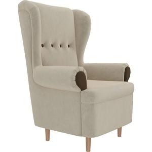 Кресло АртМебель Торин микровельвет бежевый подлокотники коричневые