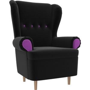 Кресло АртМебель Торин микровельвет черный подлокотники фиолетовые