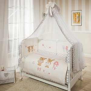 цена на Комплект в кроватку Perina Венеция 4 предмета Лапушки Бежевый