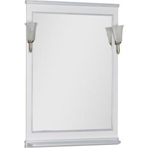 Зеркало Aquanet Валенса 70 с светильниками, белый краколет/серебро (180142, 173024) aquanet валенса 110 черный краколет серебро 180296