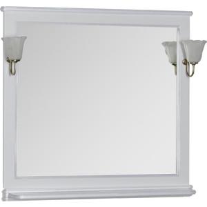 Зеркало Aquanet Валенса 110 с светильниками, белый краколет/серебро (180149, 173024) зеркало aquanet валенса 90 черный краколет серебро 180140