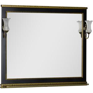 Зеркало Aquanet Валенса 110 с светильниками, белый краколет/золото (182648, 173024) aquanet валенса 110 черный краколет серебро 180296