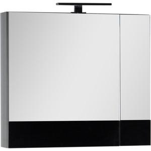 Зеркальный шкаф Aquanet Верона 75 с светильником, черный (175385, 179947)