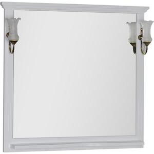 Зеркало с полкой Aquanet Лагуна 105 светильниками, белое (175304, 173024)
