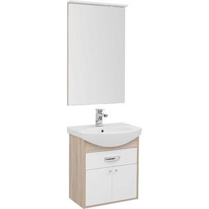Мебель для ванной Aquanet Грейс 60 дуб сонома/белый 1 ящик, 2 дверцы тумба под раковину aquanet грейс 60 дуб сонома белый 1 ящик 2 дверцы 198373
