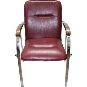 Кресло Союз мебель Самба подлокотники светлый орех кожзам бордовый