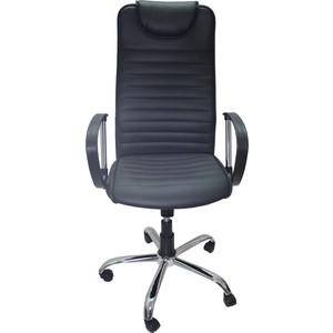 Кресло Союз мебель Страйкер ТГ экокожа черная, крестовина хром