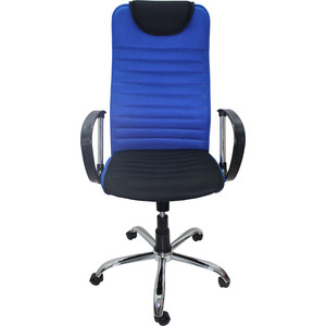 Кресло Союз мебель Страйкер ТГ TW ткань синяя, крестовина хром