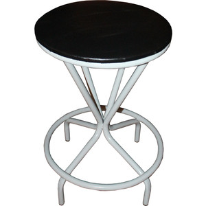 Табурет Союз мебель Тюльпан, каркас серый экокожа черная