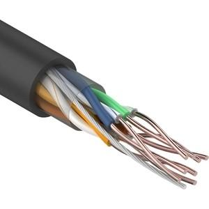 Кабель REXANT UTP 4PR 24AWG, CU (медь), CAT5e, 100 МГц, PE, черный, OUTDOOR, (бухта 50 м) (01-0045-50) telecom solid cu 0 42mm cat5e gray