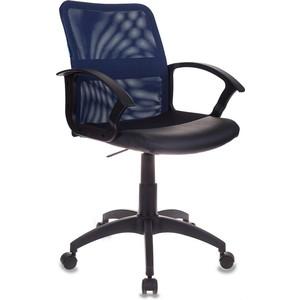 Кресло Бюрократ CH-590/bl/black спинка сетка синий, сиденье черный кресло бюрократ ch 590 sd black искусственная кожа спинка сетка салатовый сиденье черный