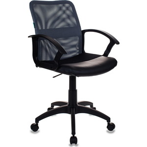 Кресло Бюрократ CH-590/DG/black спинка сетка серый, сиденье черный кресло бюрократ ch 590 sd black искусственная кожа спинка сетка салатовый сиденье черный