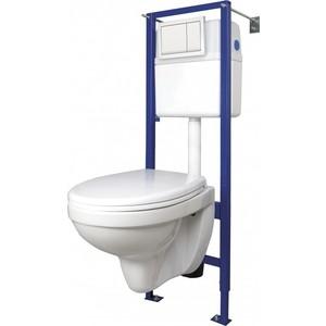 Комплект унитаза Cersanit Delfi Vector Movi Enter унитаз, инсталляция, сиденье микролифт, кнопка белая (SET-DEL/Vec/TPL/En-Wh-w) фото