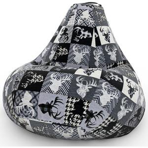 Кресло-мешок DreamBag С оленями ч/б XL 125x85