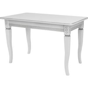 Стол раздвижной Leset Дакота 1Р белый 9003 с серебряной патиной фото
