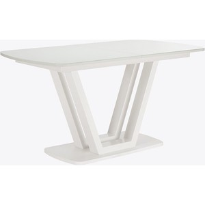 Стол раздвижной Leset Каби металл белый/стекло белое