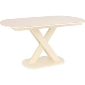 Стол раздвижной Leset Лесь металл кремовый/стекло кремовое
