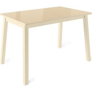Стол раздвижной Leset Морон металл кремовый/стекло кремовое раздвижной большой стеклянный обеденный стол кубика нагано 2 стекло стекло темно коричневое венге