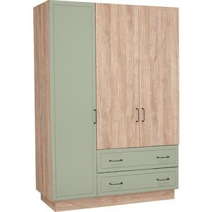 цена Шкаф 3-х дверный Комфорт - S Ханна М4 дуб баррик/зеленая резеда онлайн в 2017 году