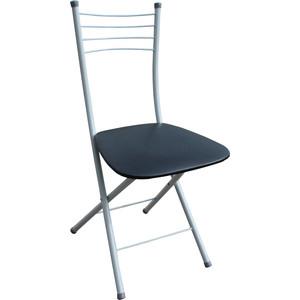Стул Союз мебель Складной обеденный каркас серый, экокожа черная