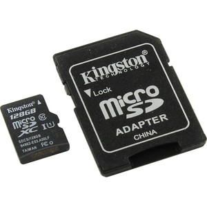 Карта памяти Kingston 128GB microSDXC Class 10 UHS-I U1 Canvas Select (SD адаптер) 80MB/s (SDCS/128GB) карта памяти sdxc 128gb class 10 kingston sd10vg2 128gb