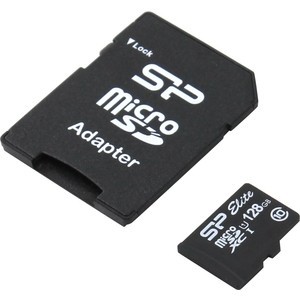 Карта памяти Silicon Power 128GB Elite microSDXC Class 10 UHS-I (SD адаптер) (SP128GBSTXBU1V10SP)