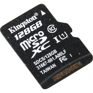Карта памяти Kingston 128GB microSDXC Class 10 UHS-I U1 Canvas Select 80MB/s (SDCS/128GBSP)