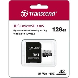 Карта памяти Transcend 128GB High Performance, microSDXC UHS-I U3, V30, A2 [R/W - 100/85 MB/s] с адаптером (TS128GUSD330S)