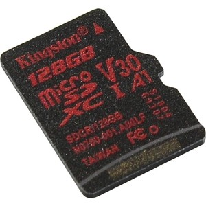 Карта памяти Kingston 128GB microSDXC Class UHS-I U3 V30 Canvas React (SD адаптер) 80MB/s (SDCR/128GB)