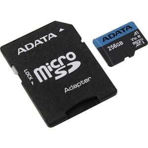 Карта памяти ADATA 256GB microSDXC Class 10 UHS-I A1 100/25 MB/s (SD адаптер) (AUSDX256GUICL10A1-RA1) карта памяти a data 64gbpremier microsdxc class 10 uhs i u1 sd адаптер ausdx64guicl10 ra1
