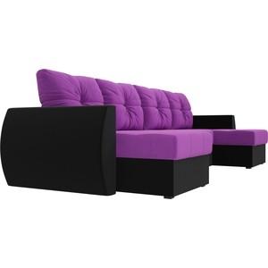 Фото - Диван АртМебель Сатурн микровельвет фиолетовый/черный П-образный диван артмебель триумф п slide микровельвет черный
