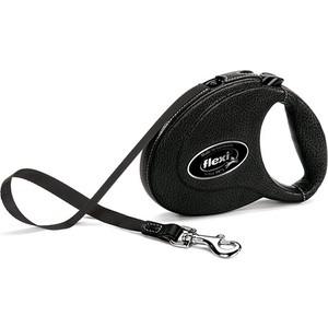 Рулетка Flexi Leather CC M лента 5м черная для собак до 25кг