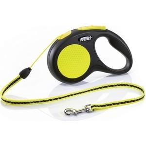 Рулетка Flexi Neon Reflect M трос 5м для собак до 20кг